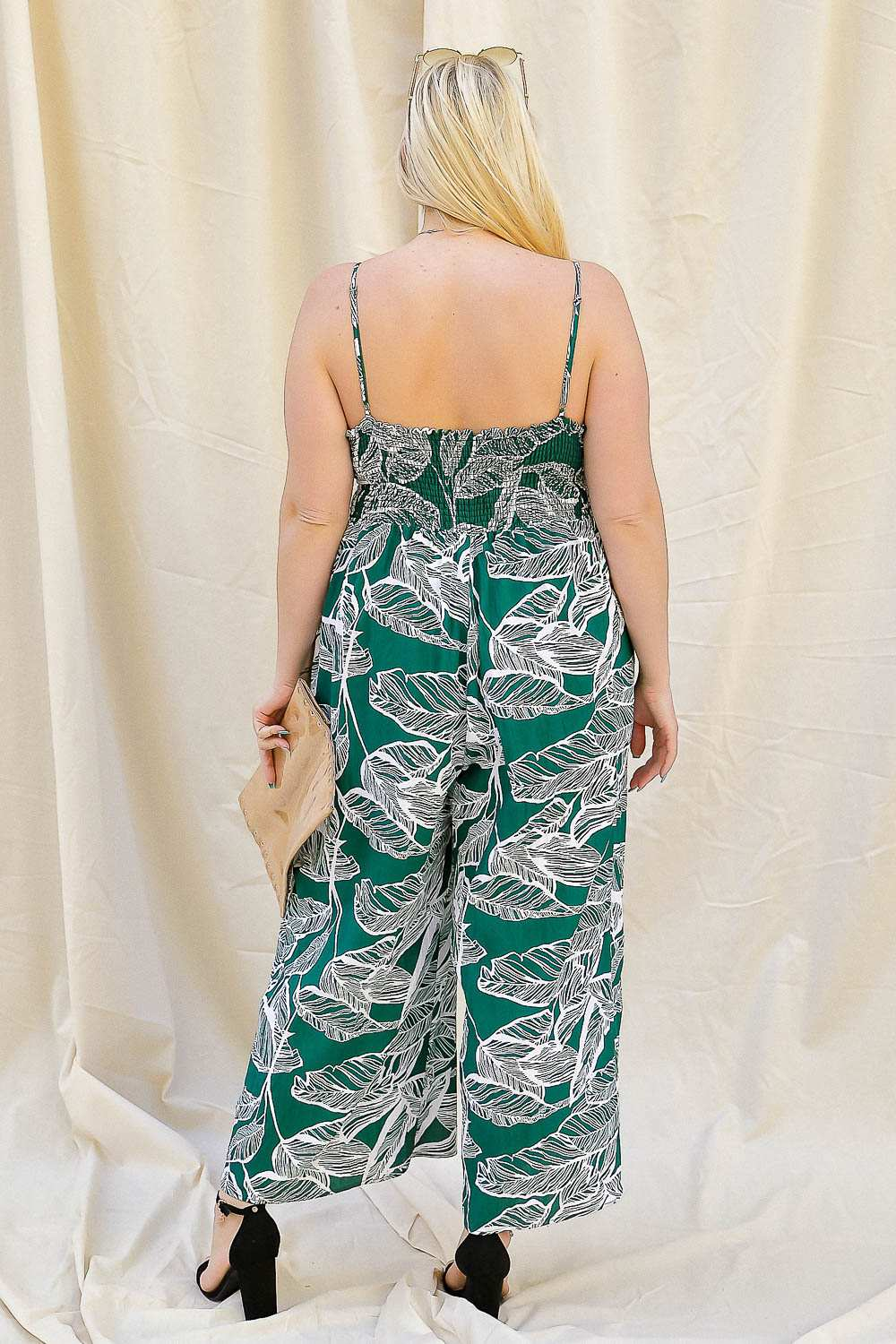 Eva Palm Leaf Wide Leg Jumpsuit-clothing, jumpsuit-Belle and Broome