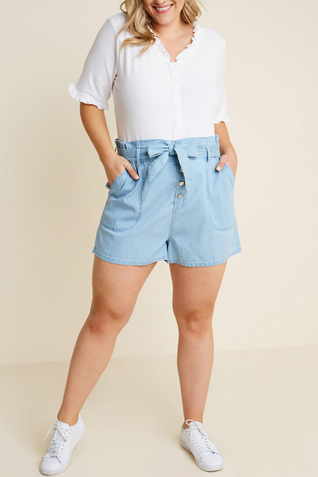Fiona Chambray High-Rise Shorts-bottoms, clothing-Belle and Broome