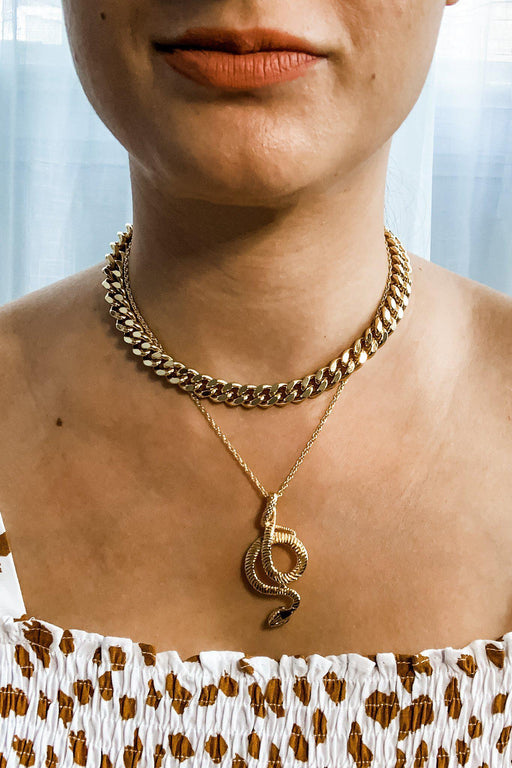 Giselle Thick Gold Chain Necklace with Snake Charmer Necklace on model
