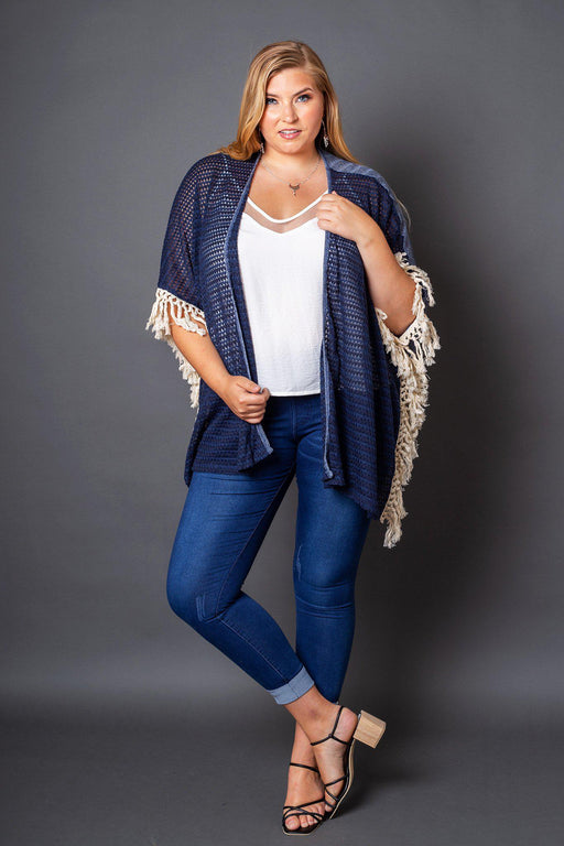 Harper Sweater Knit Fringe Kimono-cardigan, kimono, clothing-Belle and Broome