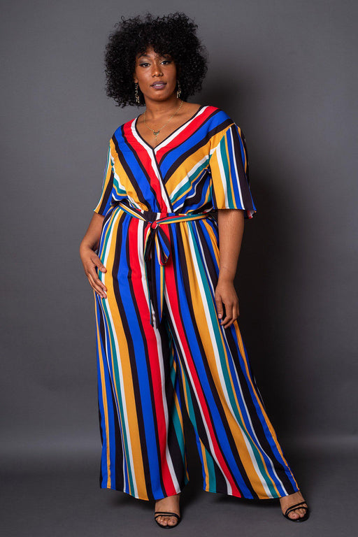 Havana Colorful Stripe Wrap-Front Jumpsuit- Front View on Model
