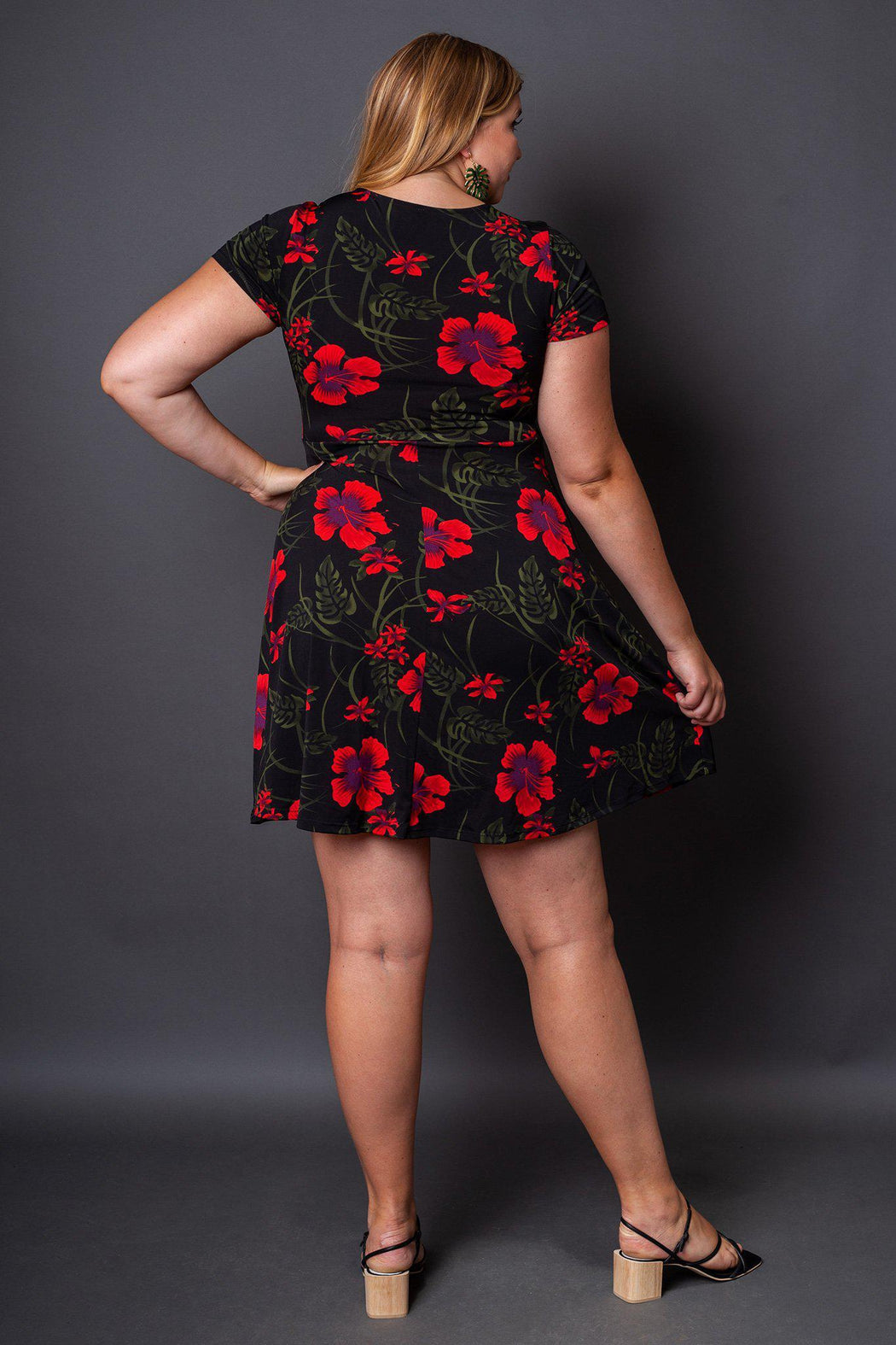 Holly Fit and Flare Floral Dress back view on model