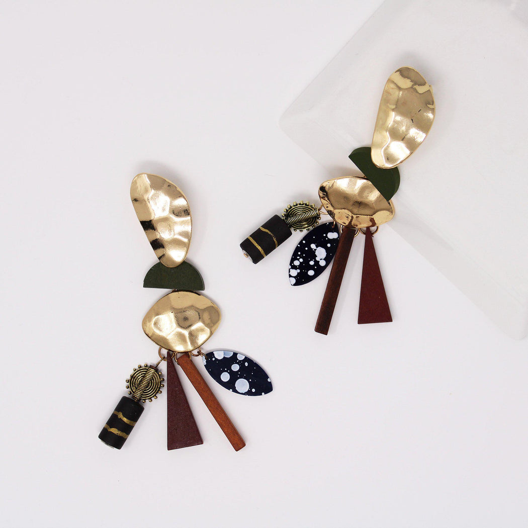 Imani wood beaded statement earrings on flat surface