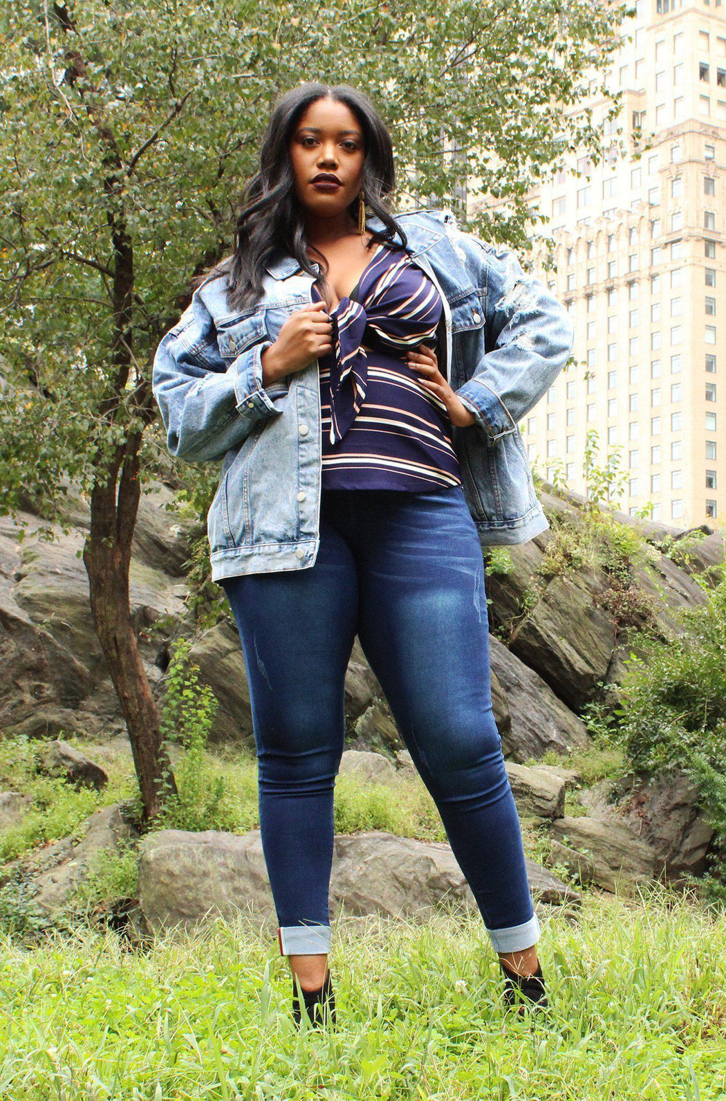 Jesse distressed denim jacket with mallorca top and stella jeans on model