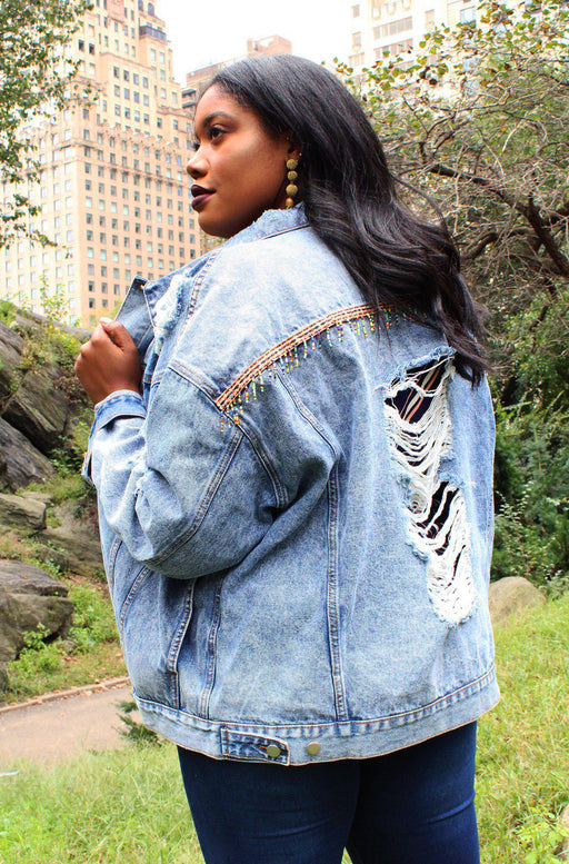 Jesse distressed denim jacket back view on model