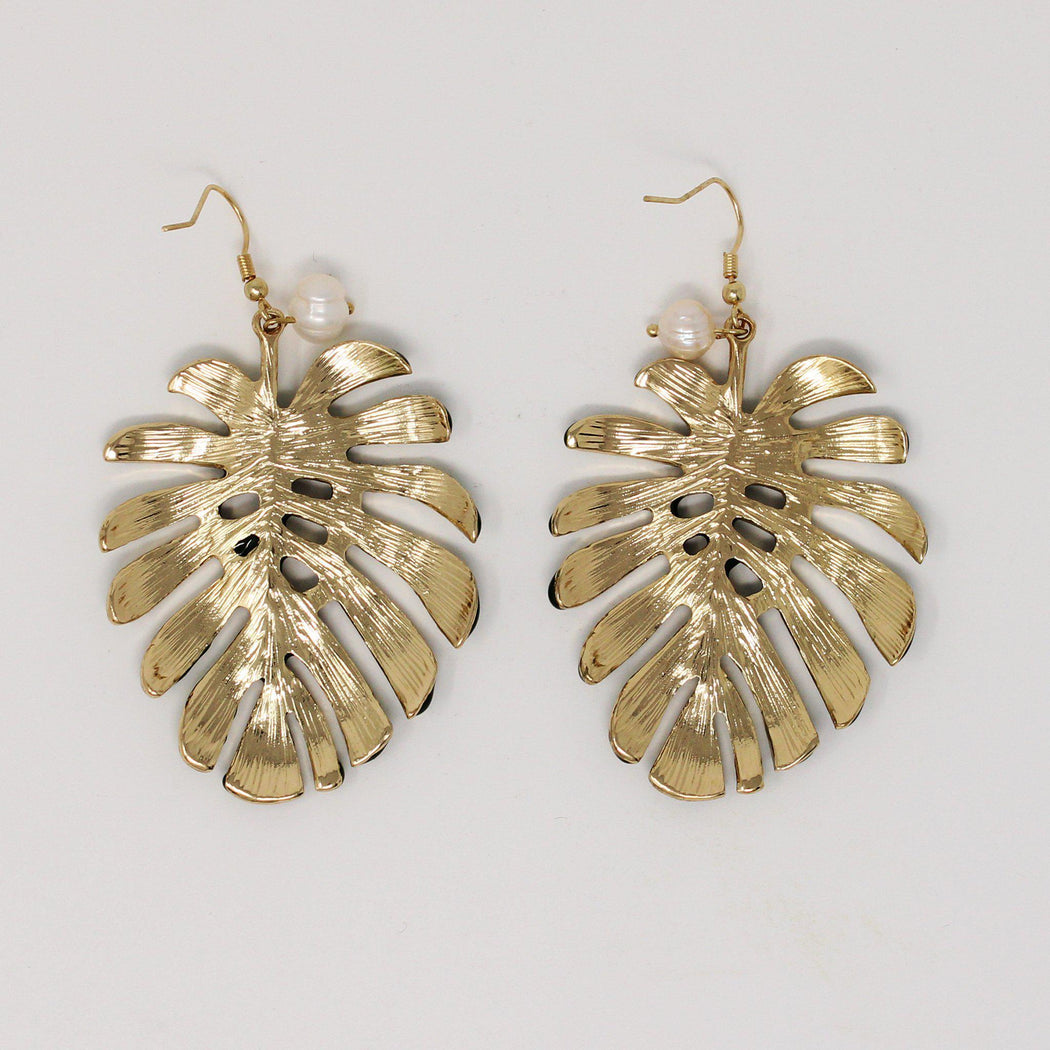 Kauai palm leaf earrings back (gold)
