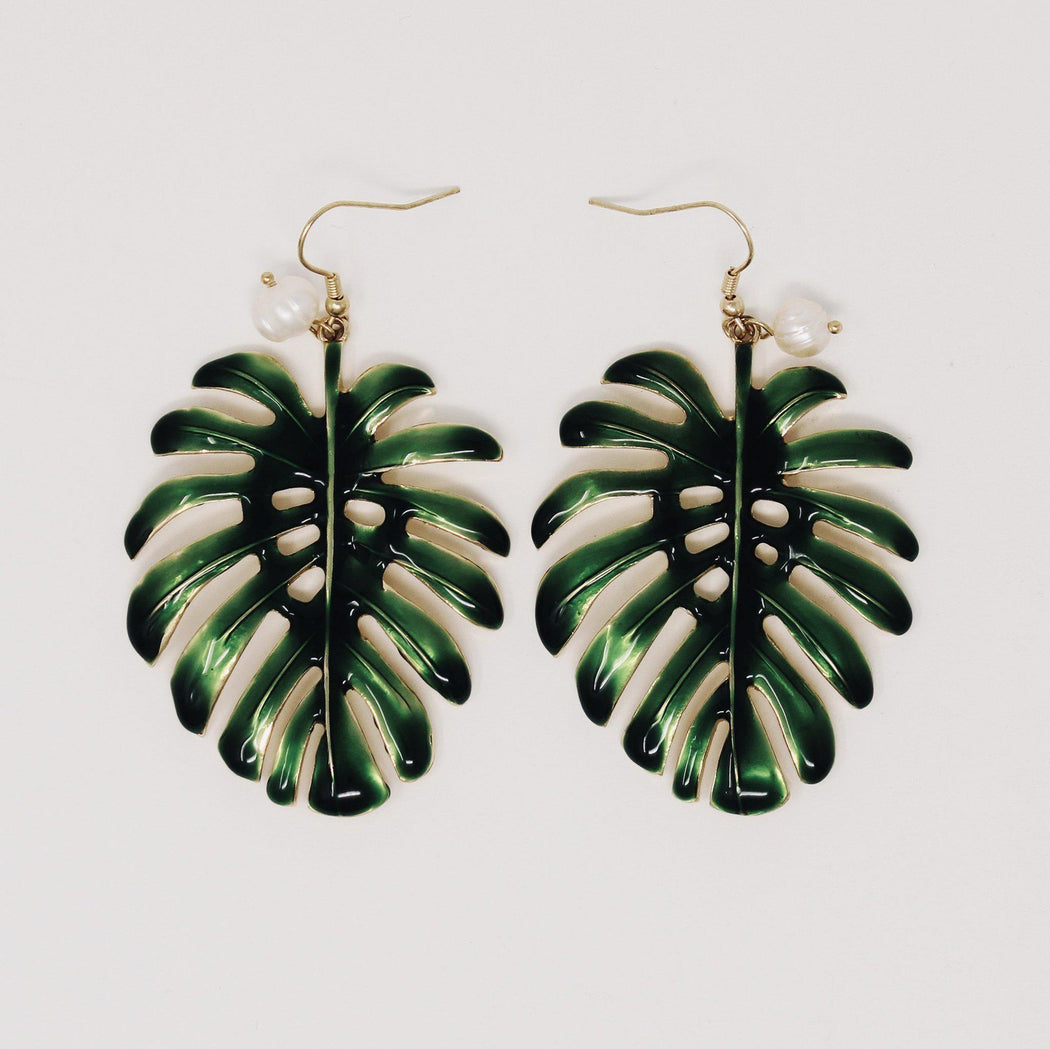 Kauai palm leaf monstera earrings front