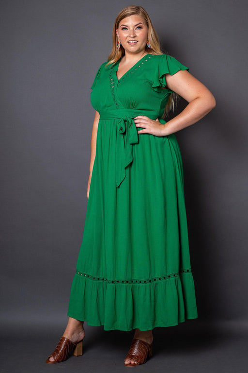 Kelli Green Maxi Dress Plus-Size on Model- 3/4 View