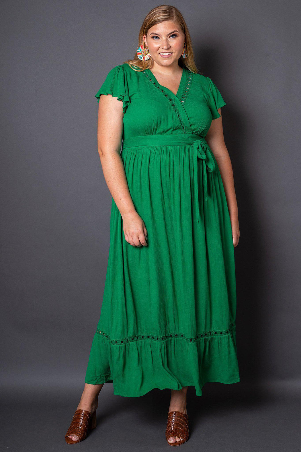 Kelli Green Maxi Dress Plus-Size on Model- Front View