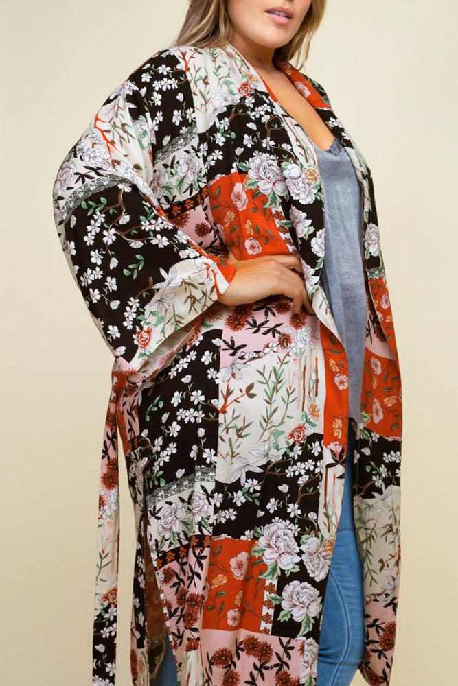 Kyoto Floral Patchwork Kimono close-up view on model