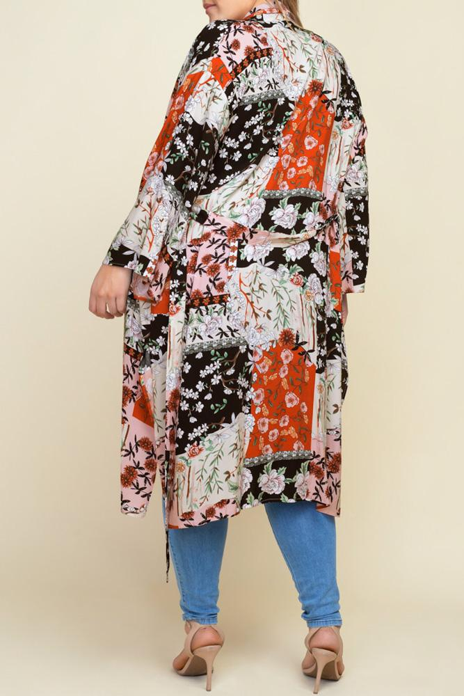 Kyoto Floral Patchwork Kimono back view on model