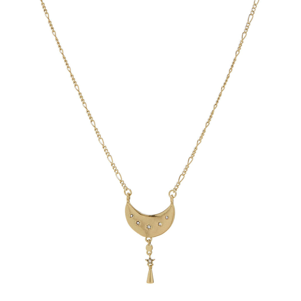 Luv AJ Celestial Moon Charm Necklace in Gold on white background