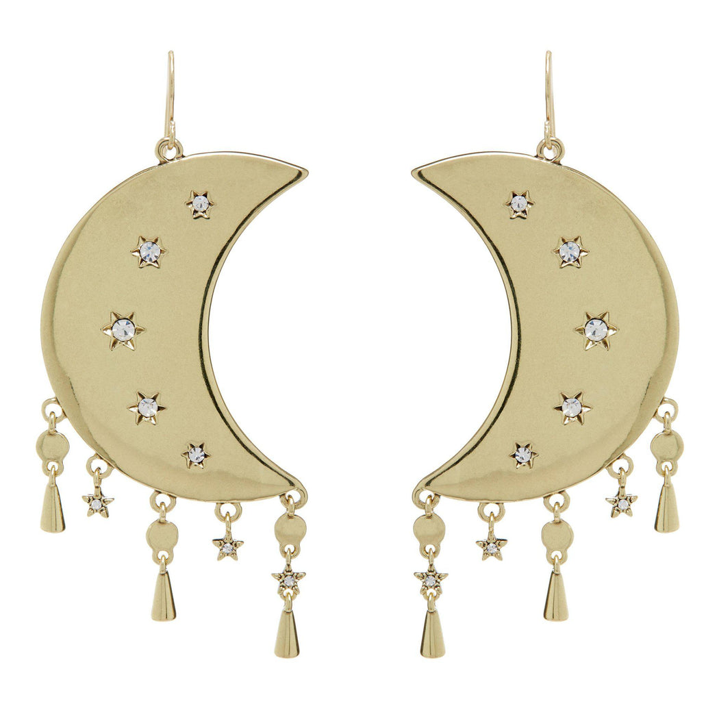 Luv AJ Celestial Statement Moon Earrings in Gold on white background