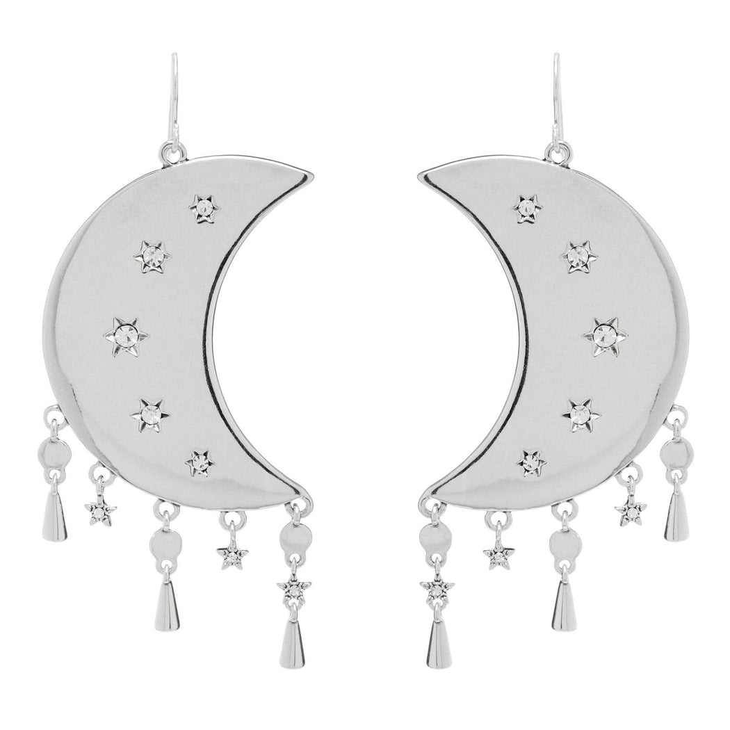 Luv AJ Celestial Statement Moon Earrings in Silver on white background