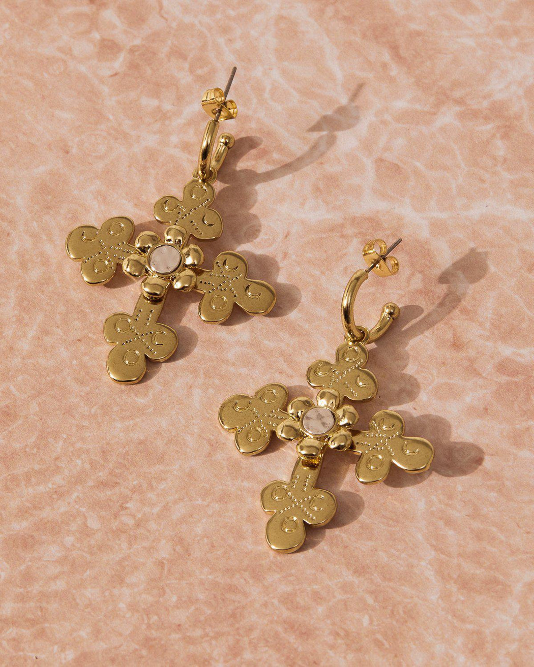 Luv AJ Etched Flora Cross Earrings-earring, jewelry, earrings-Belle and Broome