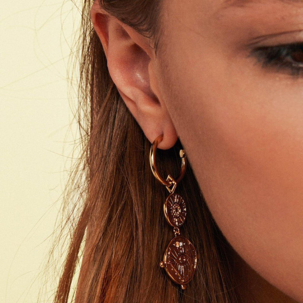 LUV AJ EVIL EYE coin drop earrings on model close up view