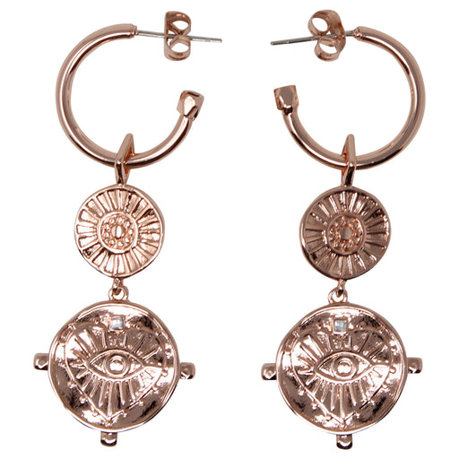 LUV AJ EVIL EYE coin drop earrings rose gold front view