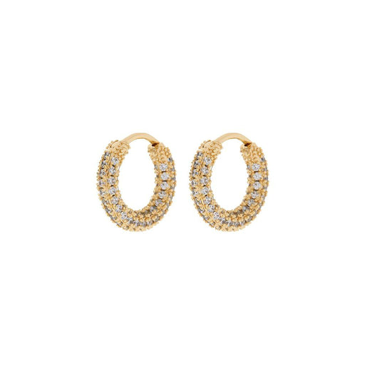 Pave Amalfi Huggies hoop earrings in Gold on white background