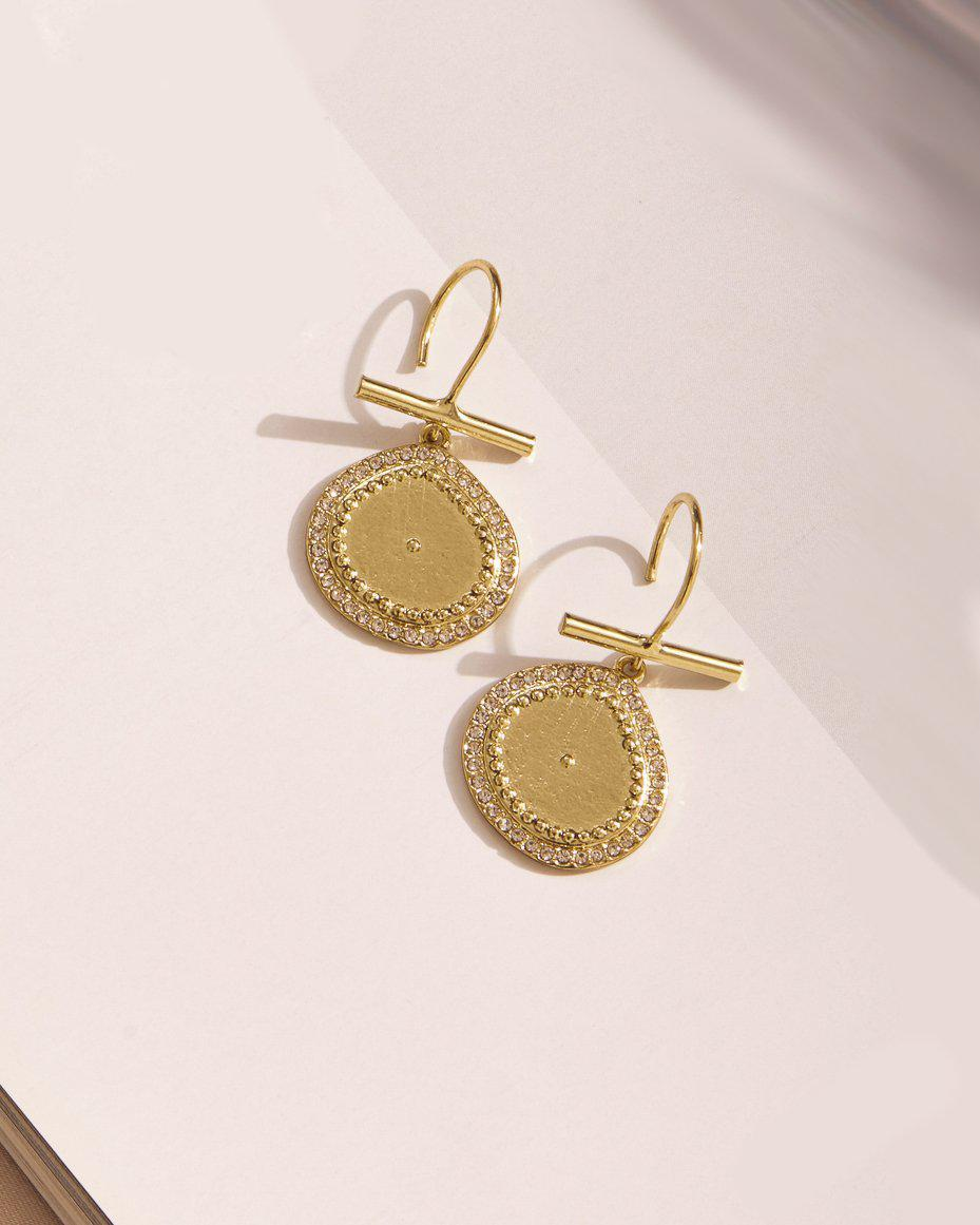 Luv AJ Pave Coin Hook Earrings-earring, jewelry, earrings-Belle and Broome