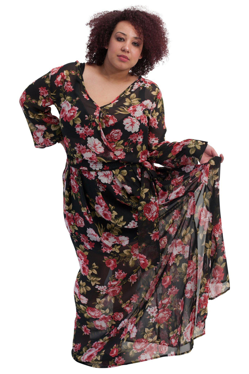 PRIMROSE black floral chiffon matched set front view