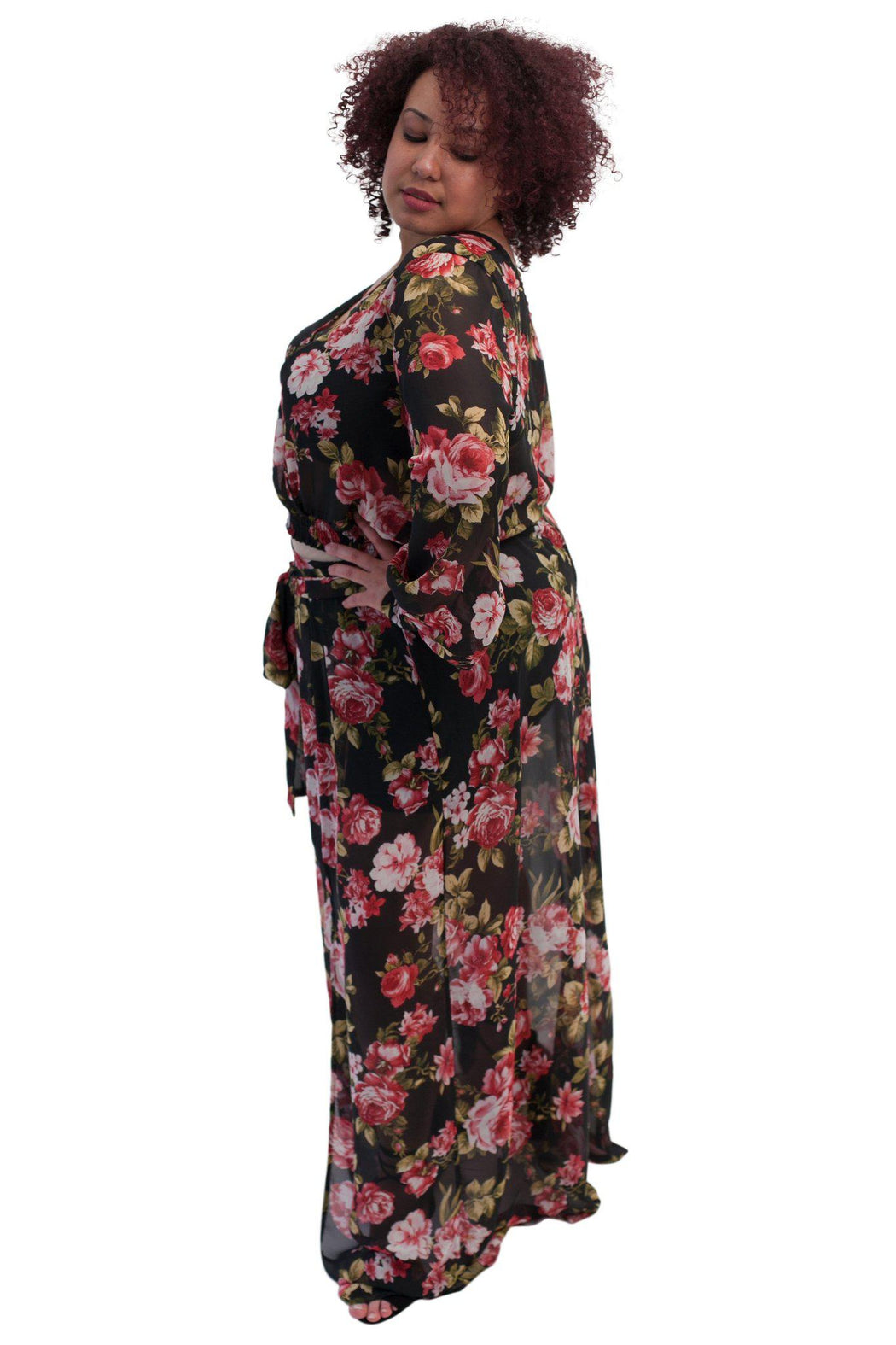 PRIMROSE black floral chiffon matched set side view