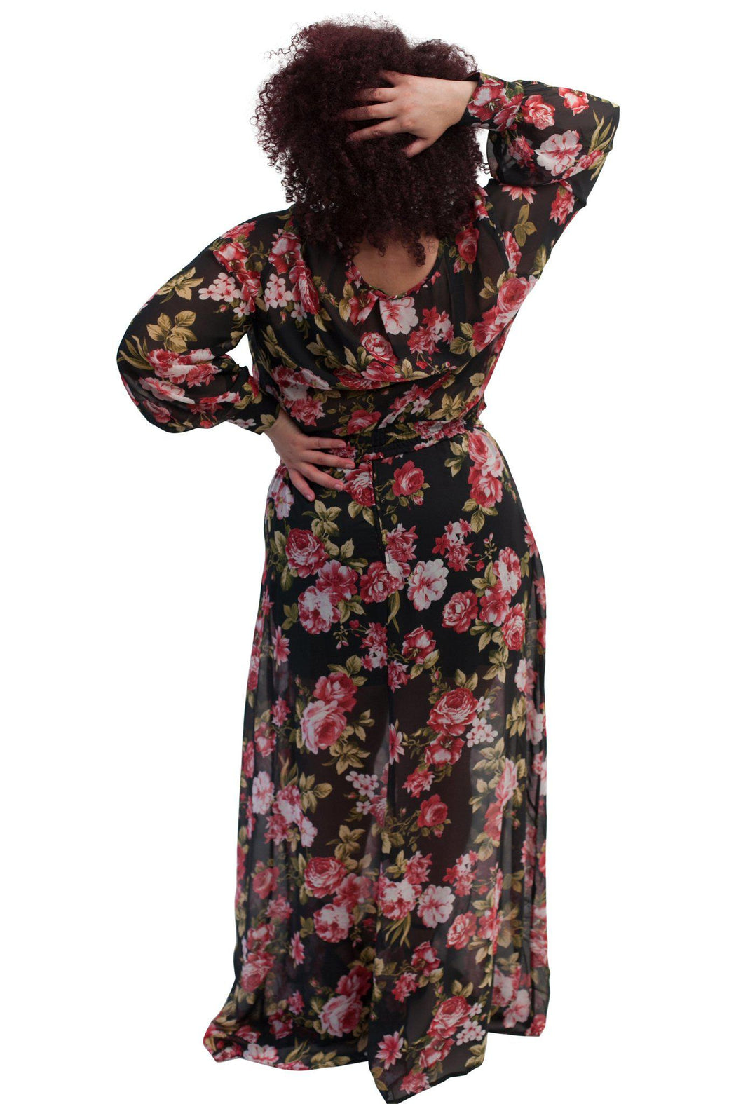 PRIMROSE black floral chiffon matched set back view