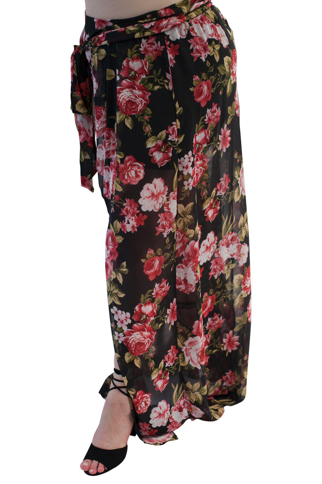 PRIMROSE black floral chiffon maxi skirt side view