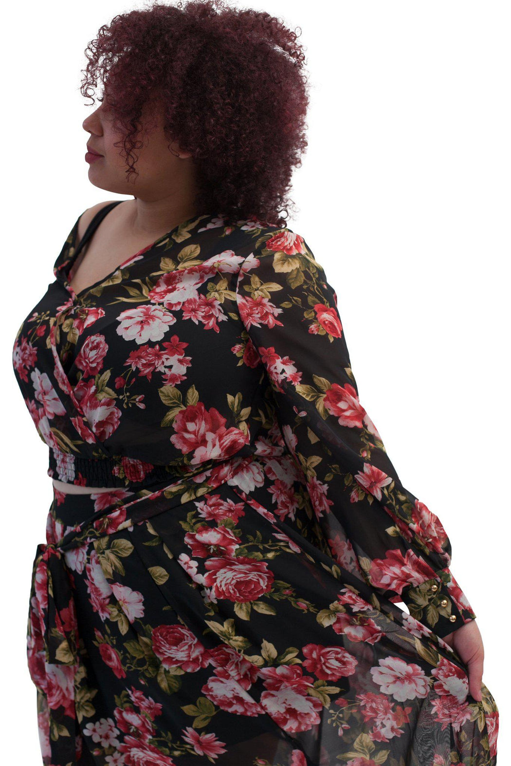 PRIMROSE black floral chiffon blouse side view