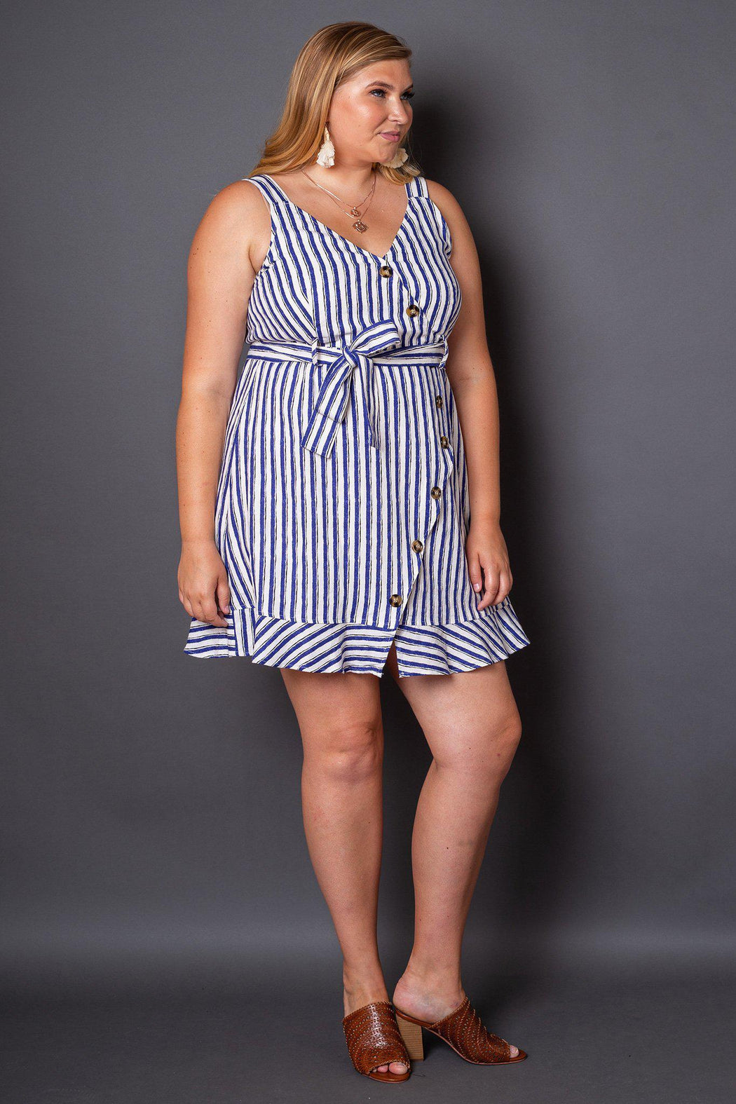 Sabine Blue and White Striped Button Sun Dress- 3/4 view on model