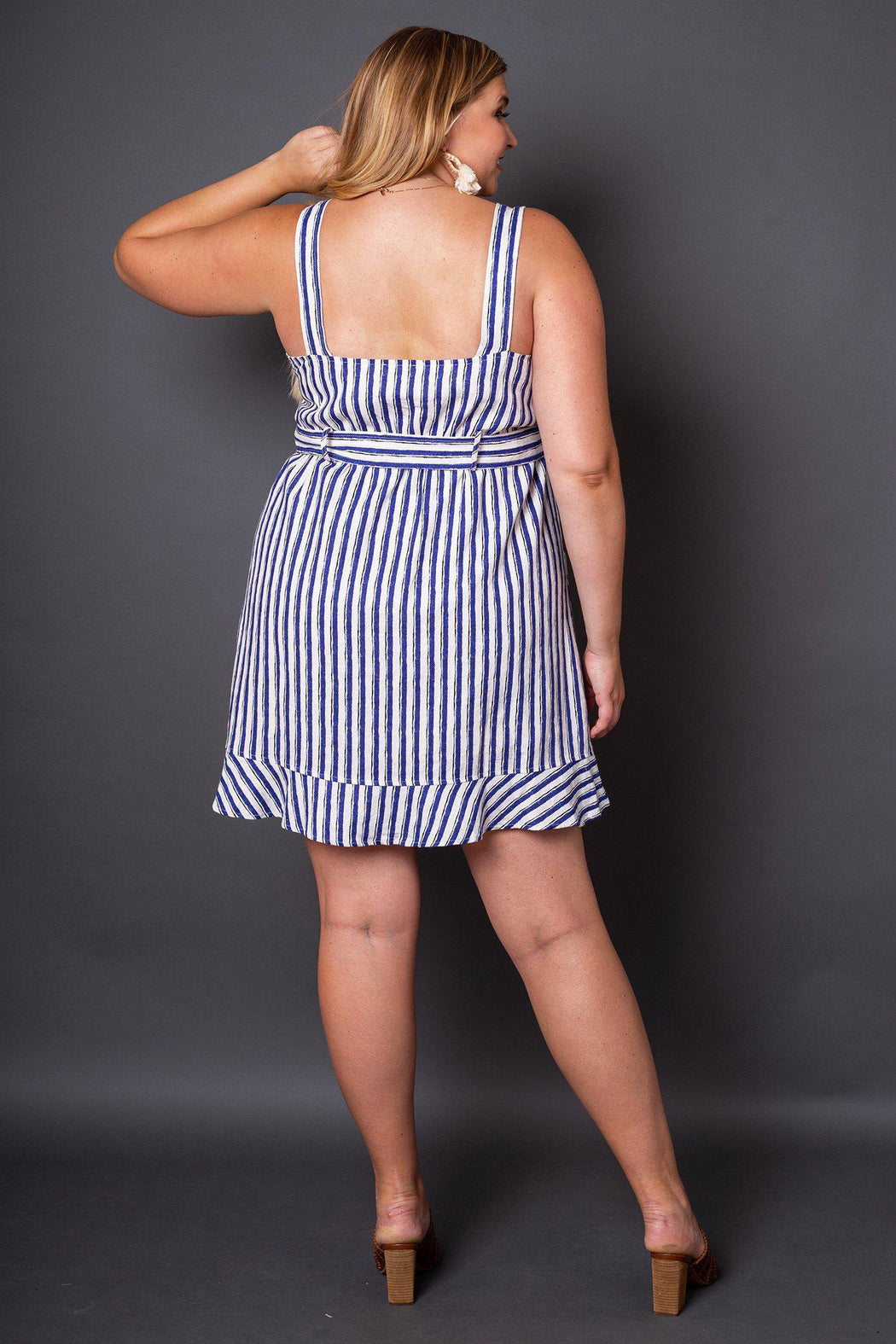 Sabine Blue and White Striped Button Sun Dress- back view on model