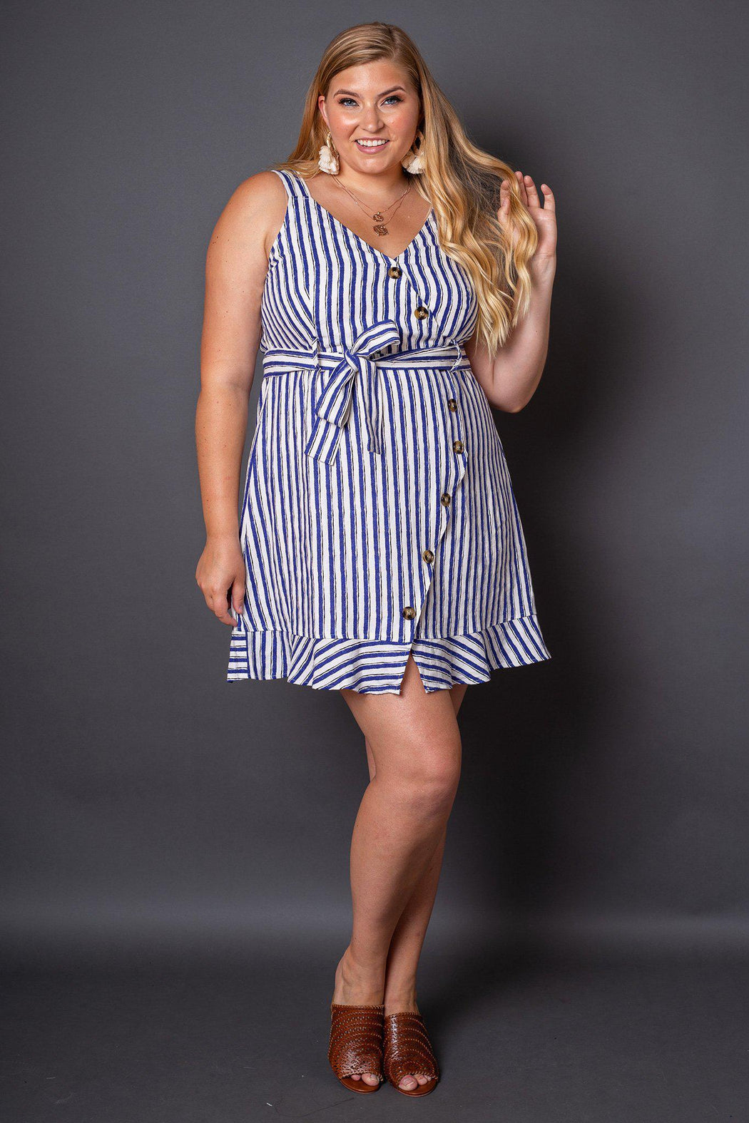 Sabine Blue and White Striped Button Sun Dress- Front view on model