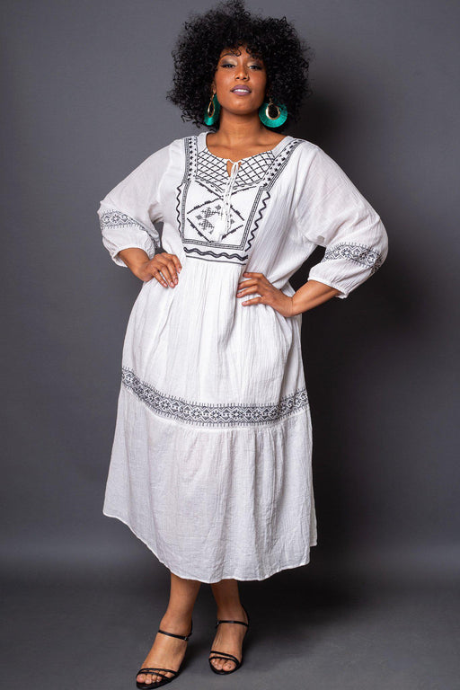 Salma Embroidered Maxi Dress front view on model hands on her hips
