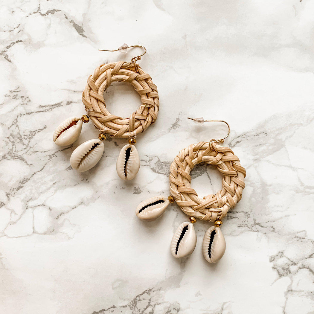 Shore Babe Seashell Rattan Drop Earrings-earring, jewelry, earrings-Belle and Broome