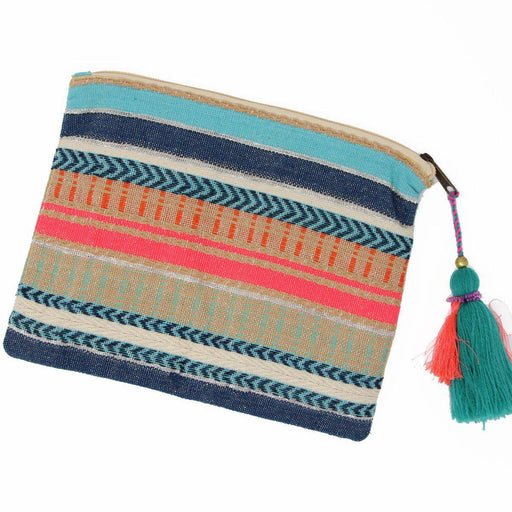 St. Lucia tassel clutch flat back view