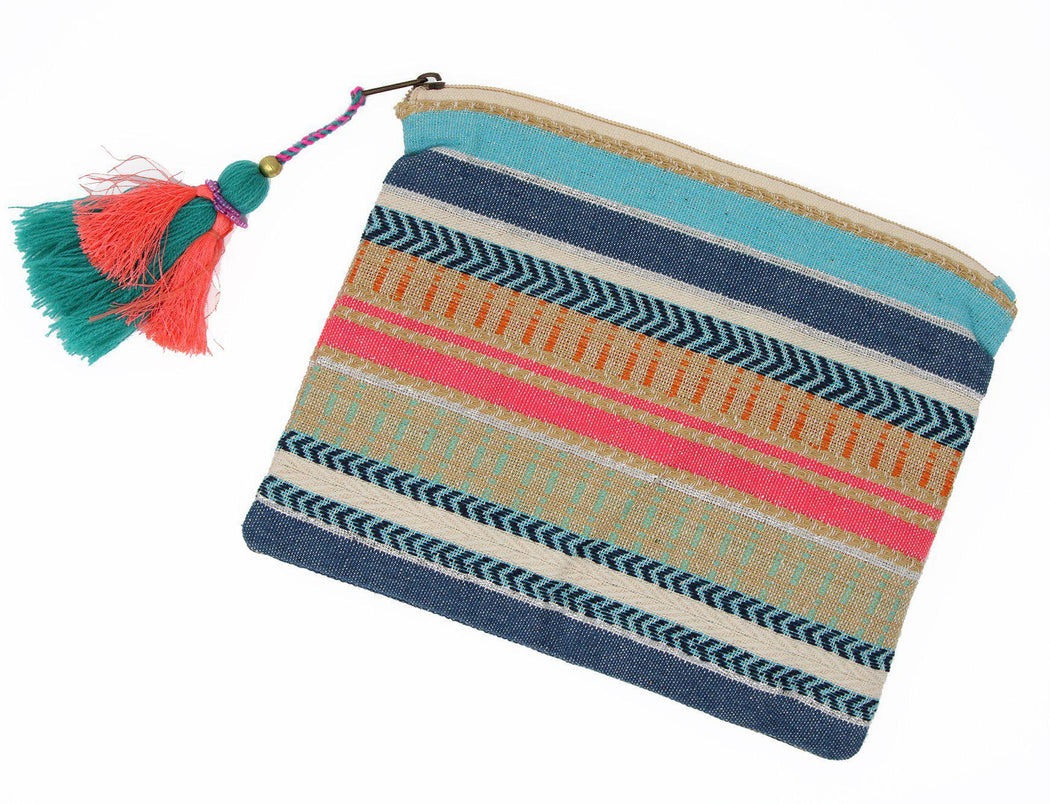 St. Lucia tassel clutch flat front view
