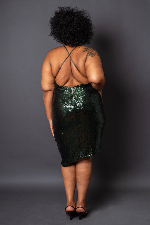 Starlight green sequin mini dress back view on model