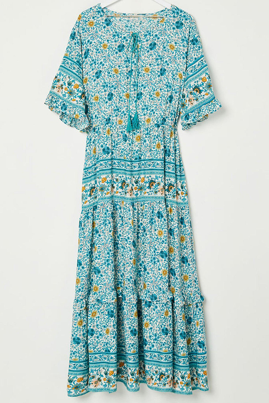 Verona Boho Bell Sleeve Maxi Dress-dress, clothing-Belle and Broome