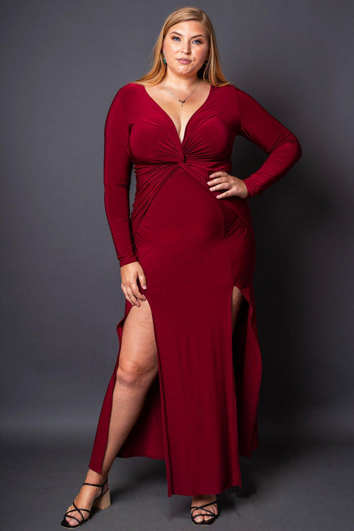 Vixen Burgundy High-Slit Maxi Dress front view on model with her leg showing through slit