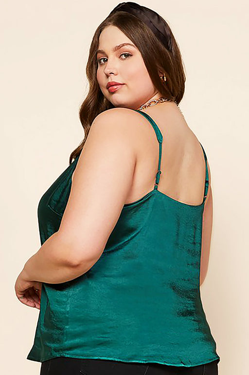 Belle and Broome Joy satin scalloped cami in emerald green on model back view