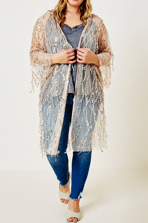 Belle and Broome Sparkle sequin kimono duster over cami and jeans full outfit on model