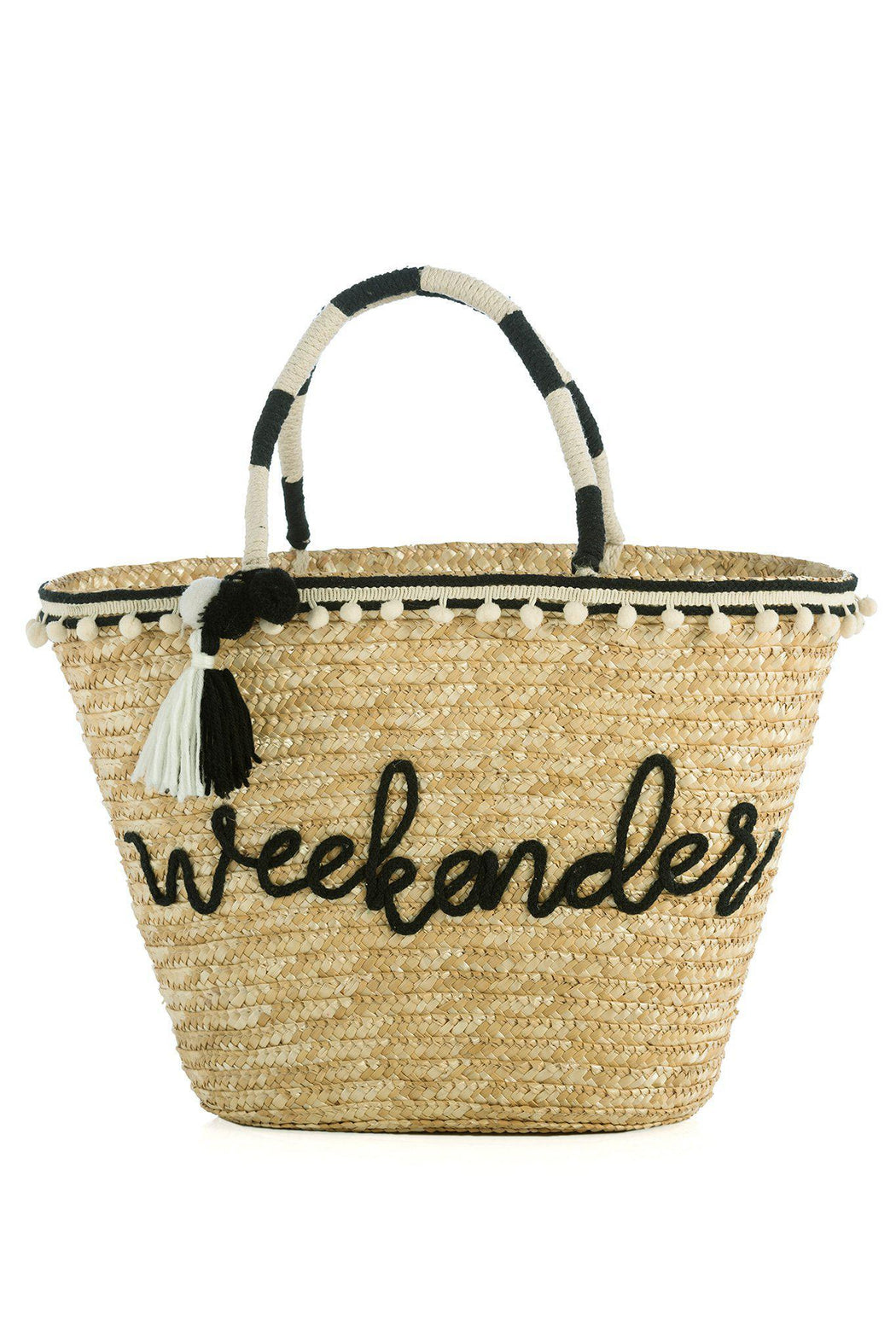 Weekender Straw Tote Bag on white background