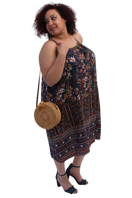 WILLOW navy floral camisole dress side view with BALI bag