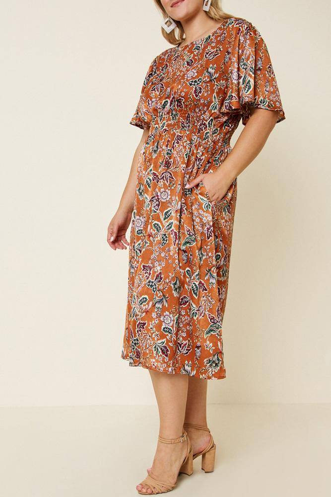 Woodstock Floral Satin Smock-Waist Midi Dress side view on model