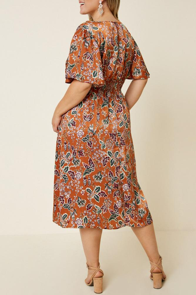 Woodstock Floral Satin Smock-Waist Midi Dress back view on model