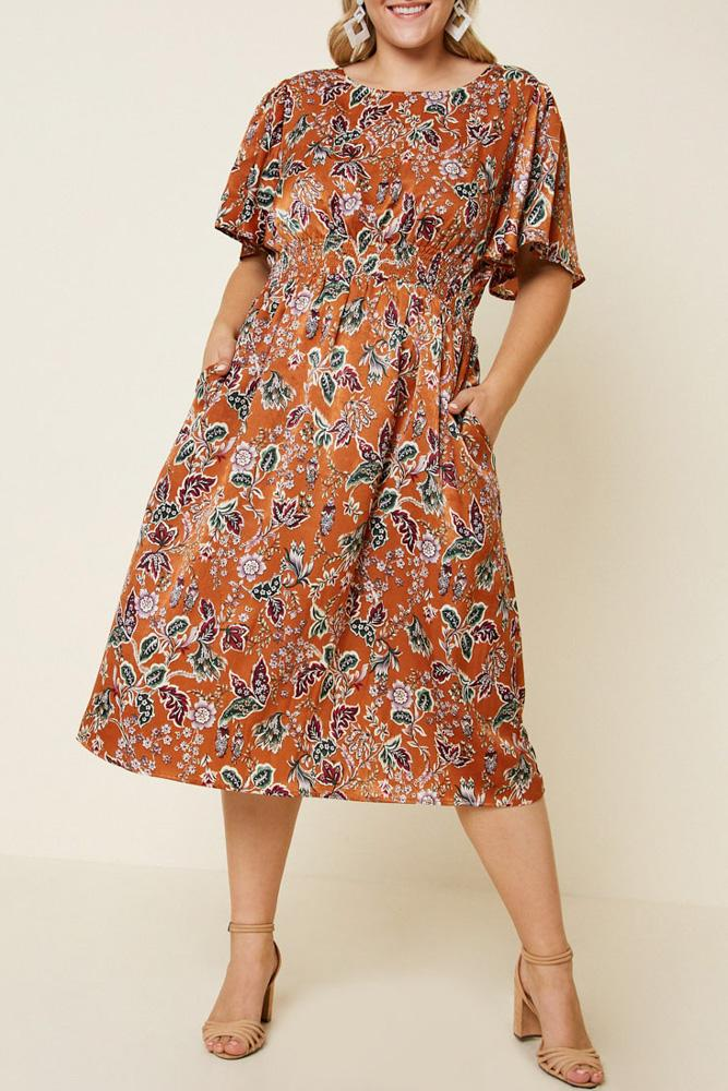 Woodstock Floral Satin Smock-Waist Midi Dress front view on model