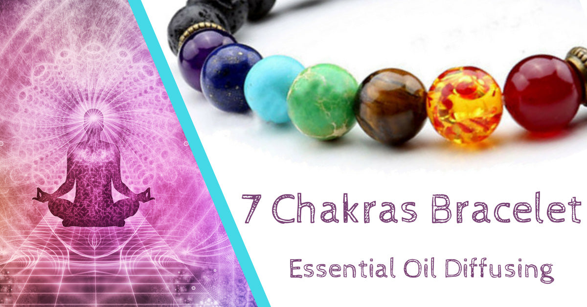 7 Chakras Healing Bracelet With Natural Lava Stone Essential Oil