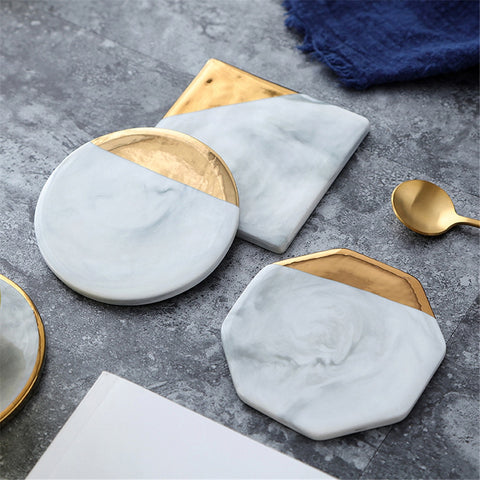 Gold Plated Ceramic Coasters