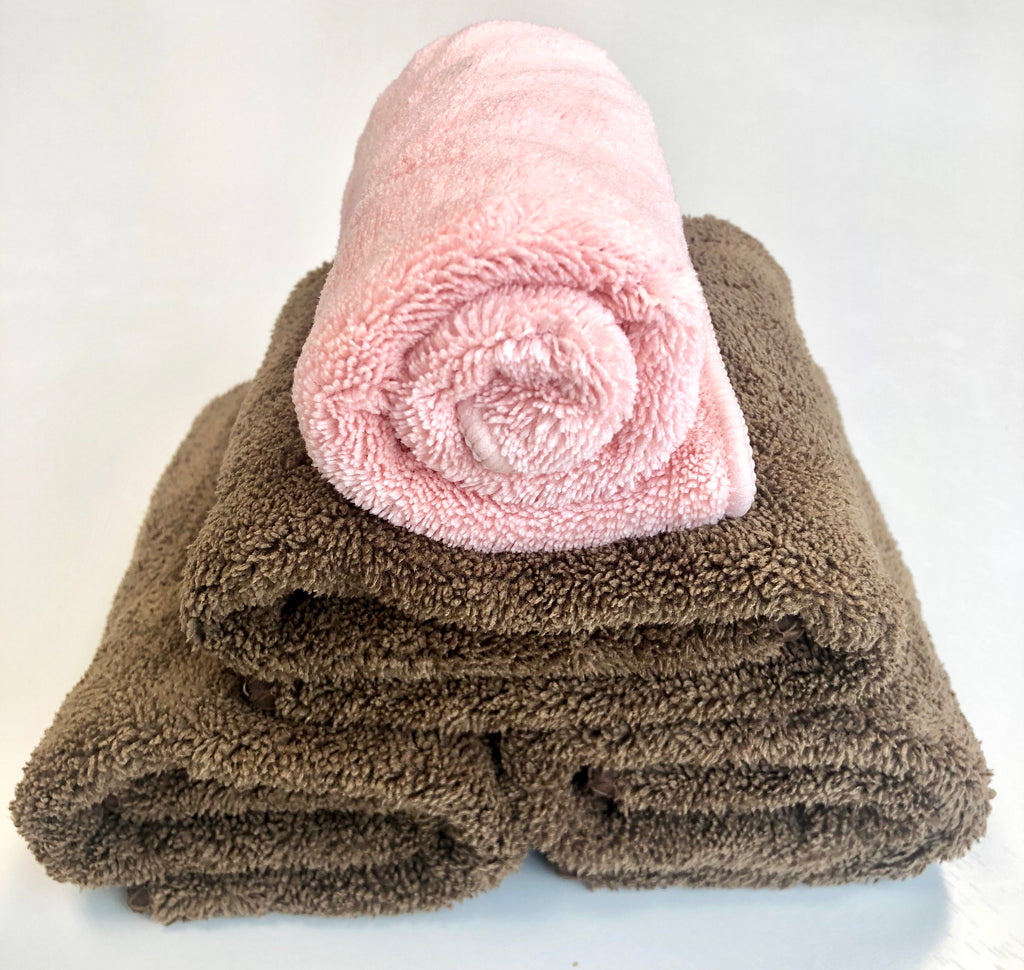 Super Absorbent Magic Towels (Brown Set of 3 + 1 Bonus Face Towel)*