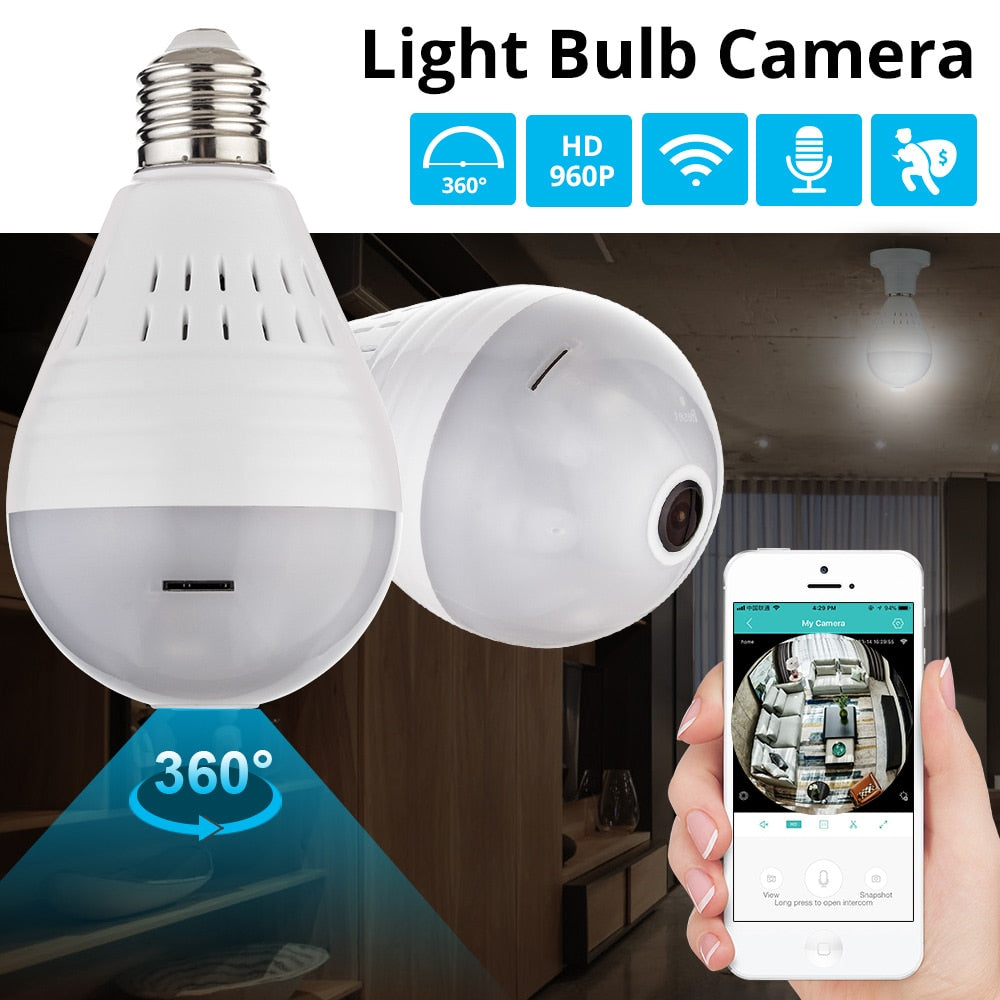 360 Degree Wifi Light Bulb Camera