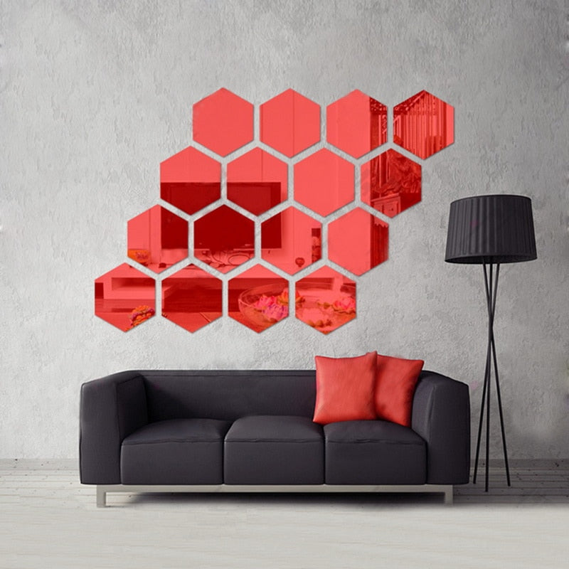 Hexagon Honeycomb Mirror Wall Stickers (12 Pc)